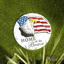 """Home Of The Brave Stepping Stone - 10 1/4"""" Round - Cement - Multicolor"""