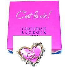 Christian Lacroix C'est La Vie Paris Vintage Large Heart Brooch Pin Signed