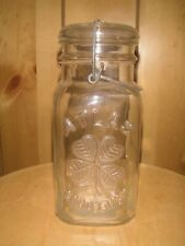 Vintage Atlas Square Quart Jar Good Luck Clover Leaf Wire Bale Clear Glass