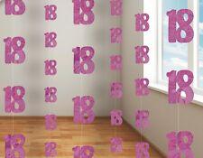 5ft Hanging Glitz Pink 18th Birthday Decorations