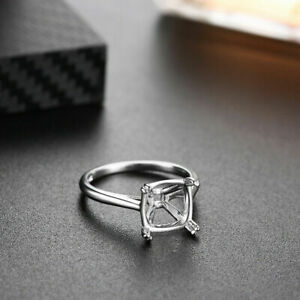 Solid 925 Sterling Silver Cushion 10x10 mm Semi Mount Ring Settings Engagement