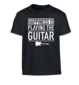 happiness is playing guitar, kid's t-shirt music lyrics band guitarist 3991