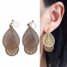 Dangle Teardrop Lace Invisible Clip On Earrings Gold Filigree Clip On Earrings