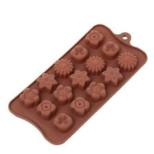 Flower Cake Chocolate 15-Cavity Candy Pan Baking Silicone Mould Mold Tray Z