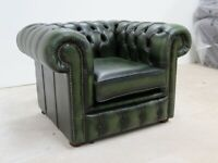 CHESTERFIELD LOW BACK TUFTED BUTTONED CLUB CHAIR VINTAGE GREEN LEATHER