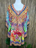 Plus Size Sheer Chiffon Embellished Kaftan Digital Printed Size 12-14-16-18