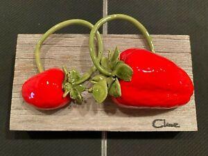 Original Carol Cline Ceramic Hand Sculpted Strawberries Fruit NEW