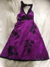 Luxurious OASIS 100% Silk Purple Beaded Halter neck Cocktail Dress-size 10. VGC