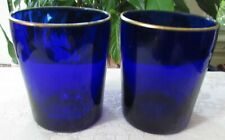"""RARE""  Two Ralph Lauren Cobalt Blue Old Fashioned Glasses Gold Rim 4 1/8"" Tall"