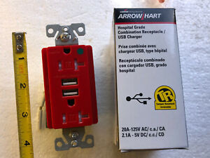 Cooper Red Hospital Grade Receptacle/ USB Charger Outlet 20A TR8345RD