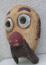 lustige Holzmaske Faschingsmaske Wandmaske, dicke Nase Schnauzer und Kulleraugen