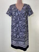 BNWOT NEXT black white mono boho batik paisley print linen mix dress size 8 36