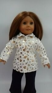 """Fitted Winter Coat fits American girl dolls 18"""" Doll Clothes White Gold Hearts"""
