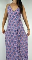 TREE OF LIFE Blue Pink Print Rayon Wrap Maxi Dress Size M AU 10-12 Boho