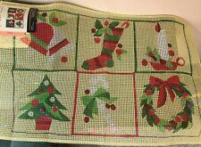 "Vintage Bernat Holiday Latched Rug Canvas ""Season's Greetings"" #3408 No Frame"