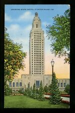 Louisiana LA postcard Baton Rouge State Capitol linen Kropp