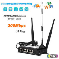 LTE 4G 300Mbps Industrial Wireless Router USB Modem SIM Card Slot 50 WiFi User