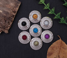 7X Turquoise Bead Bling Silver Floral Leather Rosettes Wallet Western Conchos