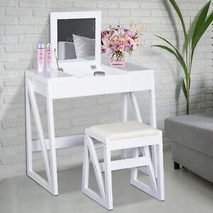 HOMCOM Dressing Table Set Cushioned Stool Flip-up Mirror Modern MDF
