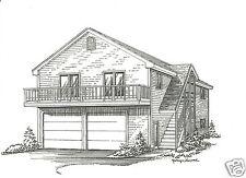 28 x 36 2 Car Garage Building Plans w/ 2nd Floor Open Loft Area & Exterior Stair