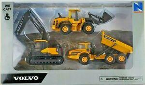New Ray 1/64th Scale Volvo Construction Equipment Set EC140E A25G L60H