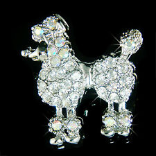 French POODLE DOG made with Swarovski Crystal animal Pet Pin Brooch Xmas Jewelry