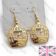 Cutout Vintage Birdcage birds Filigree Quirky Bird Cage Earrings gold plated