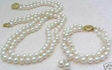 2 Rows White 8mm Akoya Cultured Shell Pearl Necklace Bracelet Earring Set AAA