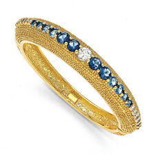 "Gold-Plated Jacqueline Kennedy Blue Bold Swarovski Elements Bangle Bracelet 8"""
