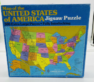 Map of United States America 300 XL Pc Vintage 1985 Jigsaw Puzzle J1