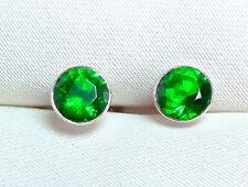 Smaragd Ohrstecker 925 Silber, rhodiniert, facettierte Edelsteine ca 5,5 mm neu