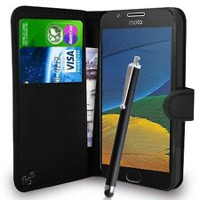 Black Wallet Case PU Leather Book Cover For Motorola Moto G5 Mobile Phone