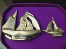 2 Hoselton Collectible Metal Polished Aluminum Sailboat Sculptures
