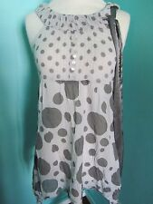 CHILLI PEPPER LONDON EXTRA SMALL GREY/POLKA DOT FLOATY SLEEVELESS COTTON TOP