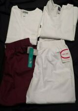 4 Cherokee Uniform Nursing Scrub Top And Pants 3Xl Plus Size Nwt White Wine