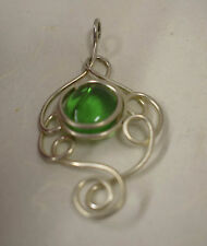 Pendant Silver Large Emerald Green Colored Glass Pendant