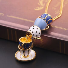 Women Fashion Hand Painted Enamel Teacup Pendant Necklace Long Chain Jewelry
