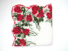 Red Roses White Lily of the Valley Handkerchief Red White Vintage Hankie Hanky