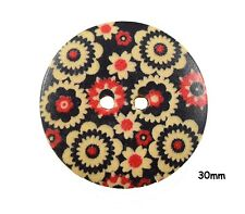 10 Large Wood Round Red, Black Flower Pattern Buttons 30mm, Craft, Sewing BU1075