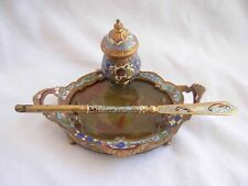 ANTIQUE FRENCH ENAMELED GILT BRONZE INKWELL WITH DIP PEN,LATE 19th CENTURY.
