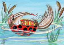 Ant Eater Lady Bug swimming Pond ACEO EBSQ Kim Loberg Fantasy Mini Art cattails