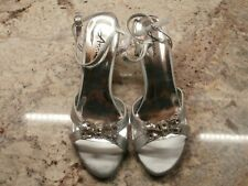 Annie Shoes Rhinestone bow Dress Sandals Women's Size 8.5w Silver