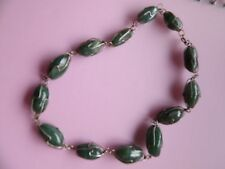 GRADUATING GREEN AGATE IN A METAL CAGE HAND CRAFTED CHOKER NECKLACE
