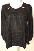 Isabel Marant Ladies Olive Black Abstract Print Neck Cut Out Detail Silk Blouse