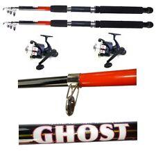 kit 2 canne ghost 2.40m + mulinello pesca mare lago galleggiante fondo trota