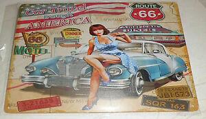 Plaque Métal Tôlée Vintage 20 X 30cm - ROUTE 66 CAR TRAVEL PIN UP  Neuf NEWS