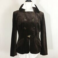 Gemma Kahng Womens VTG Brown Velvet Double Breasted Jacket Heart Buttons Size 12
