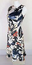 GEORGE black white beige Floral sleeveless High neck fit flare Midi dress sz 10