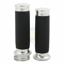 Chrome Handle Bar Soft Rubber Hand Grips 25mm For Harley Fatboy Electra Glide