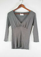 Michael Stars Women's Size Small Grey Tee Shirt Top V-Neck 3/4 Sleeves Blouse